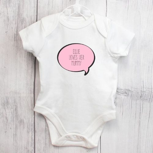 Personalised Pink Speech Bubble Baby Vest